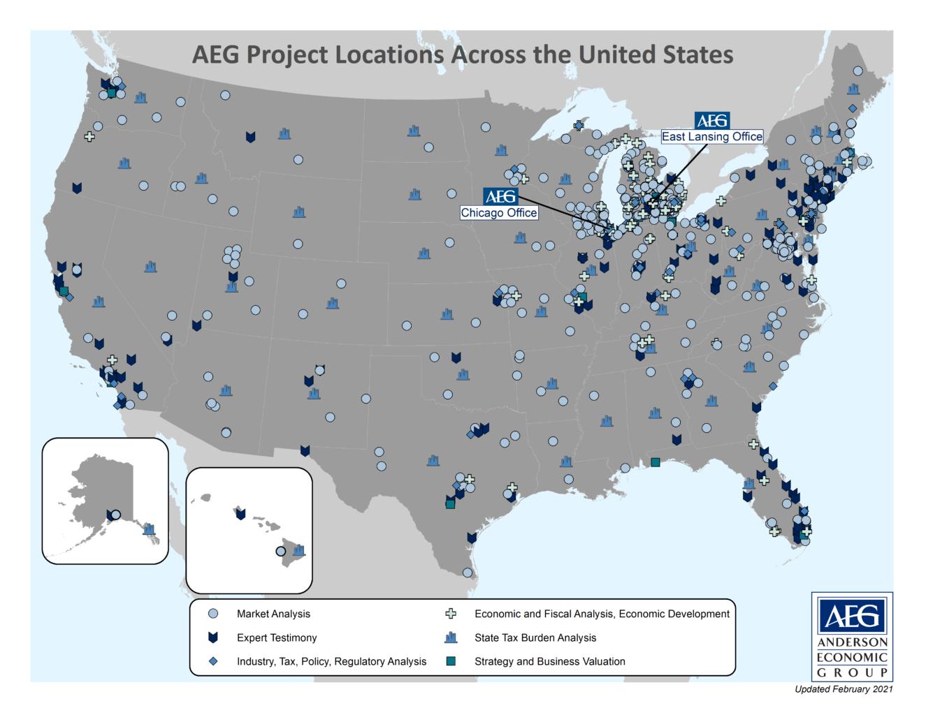 AEG U.S. Project Map 2021